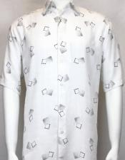 Button Front Comfort + Style! Easy Care Bassiri Short Shirt
