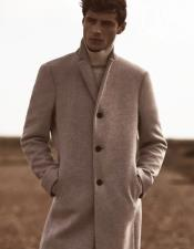 ID#KA31587 Wool Epson Mens Overcoat Oatmeal