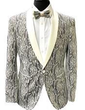 ID#KA31606 Paisley Fashion Fancy Floral Fashion Looking Grey Mens Blazer / Sport coat Slim Fit Tuxedo