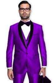 Purple Tuxedo Shawl Collar