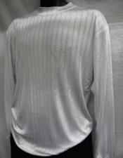 White Stripe Mock Neck