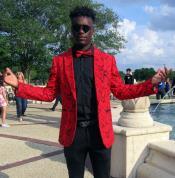ID#AI31686 One Chest Pocket Fancy Floral Red Fashion Mens Blazer / Sport coat Slim Fit Tuxedo