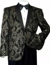 ID#AI31694 Mens Shiny Sequins Black/Gold Formal Slim Blazer Paisley Tuxedo Jacket