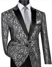 Silver & Black Blazer Perfect Gray Tuxedo Dinner Jacket