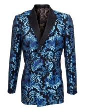 ID#KA31885 Double Breasted Blazer Floral ~ Velvet Blazer Tuxedo Dinner Jacket Fashion Sport Coat + Blue