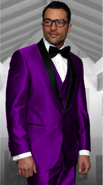 Dark Purple Tuxedo Shawl Collar Vested Jacket