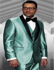 ID#KA31905 Turqoise 3 Piece Suit Prom or Wedding or Groom Tuxedo Shawl Collar Vested Jacket & Vest & Pants