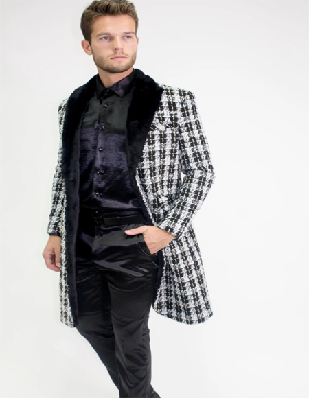 ID#KA31926 Three Quarter Overcoat + Designer Mens Wool Peacoat Sale Car Coat Carcoat - Mid length Wool Coat