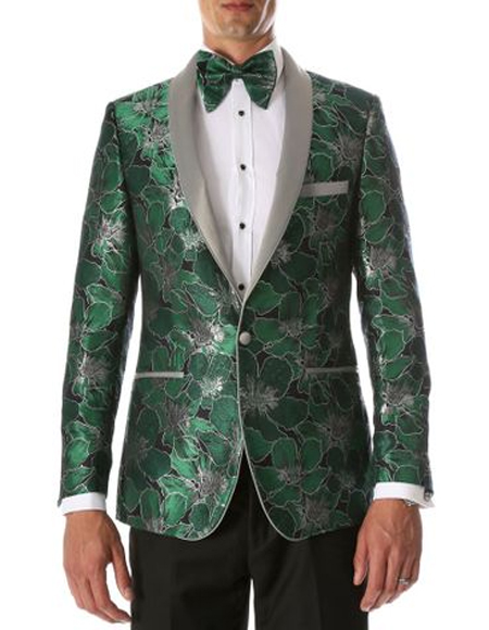Green Shawl Lapel Floral