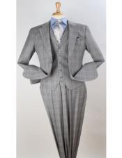 men's Grey Windowpane Vested Pleated Pants Mens Plaid Suit - Patterned Suit - Classic Fit Suit