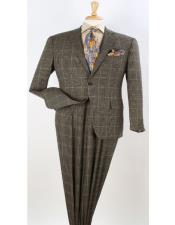 Button Windowpane Vested Suits