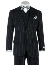 ID#KA31964 100% Wool Super 150's Fabric By Alberto Narodoni Vest Classic Fit 3 Piece Peak Lapel Double breasted Black Pin-Stripe Wide Leg Suit