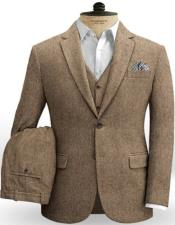 Brown Fabric Slim Fitted
