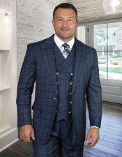 ID#KA32030 Plaid Windowpane Vested 3 Piece Suit Double Breasted Suit Indigo