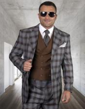 Plaid Suit Windowpane Vested