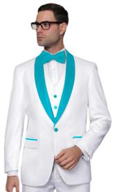 ID#KA32056 White Tuxedo With Turquoise Color Lapel Vested Wedding ~ Prom 3 Piece Suit