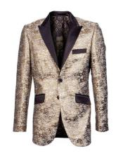 ID#KA32071 Men's Brown Floral Tuxedo Jacket - Color Black and Gold Suit