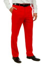 ID#KA32315 Mens Red 100% Polyster Fabric Dress Slacks Slim Fit Pants
