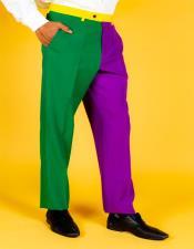 ID#KA32320 Mens Multi Color 100% Polyester Slim Fit Suit Pants