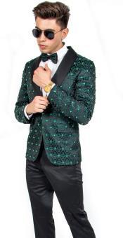 men's Fashion Wedding ~ Prom Suit Dark Green Tuxedo ~ Jacket and Pants