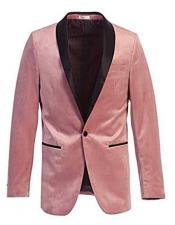 ID#KA32362 Mens Blazer Slim Fit Velvet Pink Tuxedo With Black