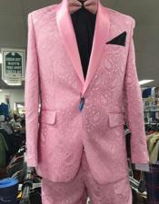 ID#KA32364 Mens Prom Paisley ~ Floral Suits / Wedding Jacket and Pants Pink Tuxedo