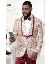 ID#KA32393 Ivory ~ Wedding Paisley Floral Burgundy Maroon ~ Wine Prom Tuxedo Jacket ~.Blazer