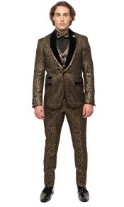 One Button Gold Suit