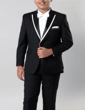 Black with White Trim 4 -Piece Set for Kids Teen Boys - Ring Bearer - Wedding - High Fashion Children Tuxedo