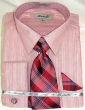 Red Colorful PinStripe Pattern Matching Spread Collar men's Dress Shirt