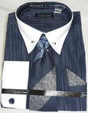Navy PinStripe Colorful Point Collar Starch White French Cuff men's Dress Shirt