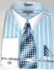ID#KA32675 100% Cotton Pinstripe Pattern - White Collared - French Cuffed Aqua Colorful Mens Dress Shirt