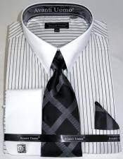 ID#KA32682 White Pencil Mens Stripe Colorful Dress Shirt