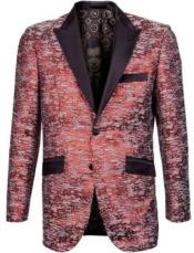 Button Mens Floral Red