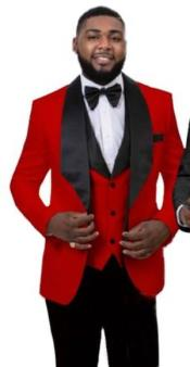 Peak Lapel Mens Red