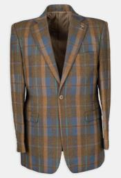 ID#KA32915 3 Pc Flat Front, Half Lined, Expandable Waist Mens Plaid Affordable Cheap Priced Mens Dress Suit For Sale