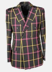 Lapel Windowpane Double Breasted