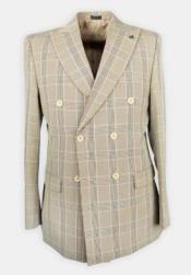 Dark Tan Plaid Six Button, Peak Lapel Affordable Cheap Priced Dress Suit For Sale - men's Double Breasted Suits