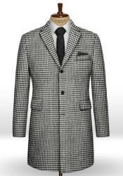 Houndstooth BW Tweed Overcoat