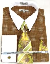 Brown Colorful Dress Shirt