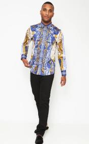 print Stretch Collared Shirt