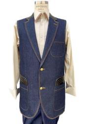 men's Sleeveless - men's Denim 2 piece Set Combination Navy Suit Vest and Pants