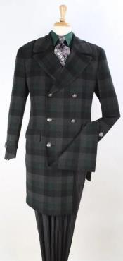 Wool Topcoat Black Windowpane