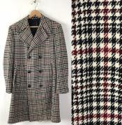 men's Houndstooth Six Button Front Double Breasted Wool Overcoat