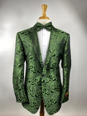 ID#KA33735 Olive Green Paisley Tuxedo Dinner Jacket With Bow Tie - Green Blazer