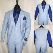 ID#KA33746 Three Piece Suit For Men Light Blue Pinstripe Suit - Sky Blue Stripe - Sumner Suit By Stacy Adams