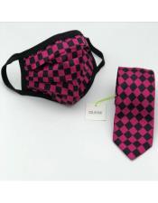 Tie Set Fuchsia Checkered
