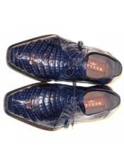 Mezlan Navy Crocodile Lace