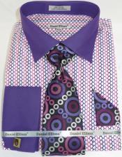 Mens Fashion Dress Shirts and Ties Purple Multi Colorful men's Dress Shirt