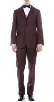 Burgundy Slim Fit 3pc